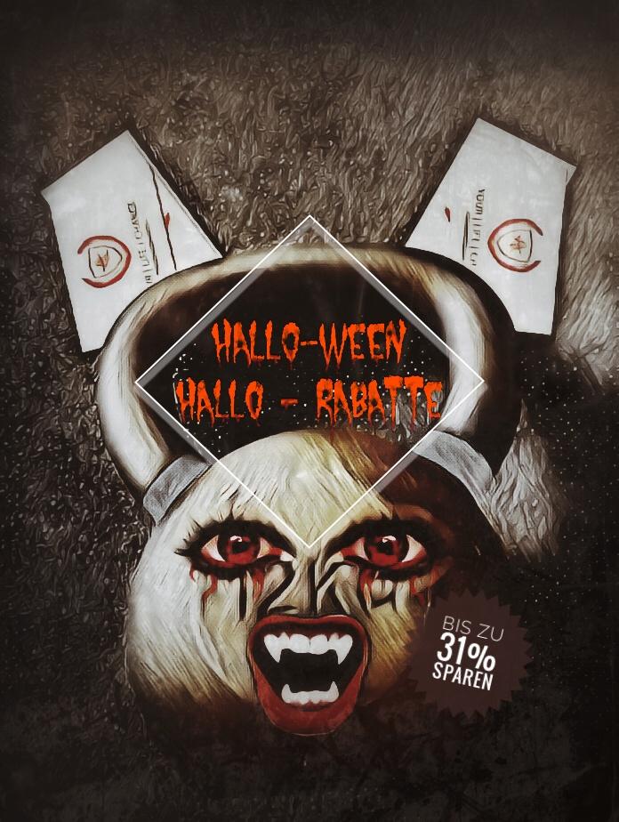 Halloween Rabattaktion. Gruseliges Bild mit Kettlebell